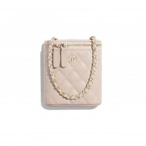 Chanel Pale Pink Grained Shiny Calfskin Small Vanity with Classic Chain
