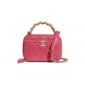 Chanel Pink Lambskin/Shiny Crumpled Calfskin Small Vanity Case Bag