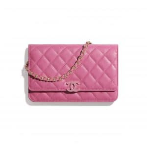 Chanel Pink Shiny Grained Calfskin Wallet on Chain