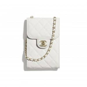 Chanel White Grained Shiny Calfskin Classic Clutch with Chain
