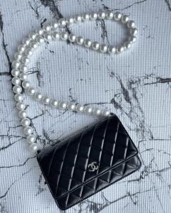Chanel Black Maxi Pearls Wallet on Chain 3