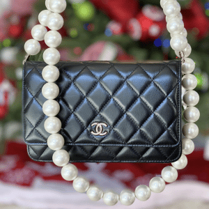 Chanel Black Maxi Pearls Wallet on Chain 2