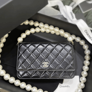 Chanel Black Maxi Pearls Wallet on Chain 1