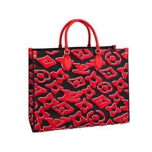 Louis Vuitton x Urs Fischer Red/Black Onthego Tote Bag