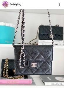 Chanel Black Caviar Cardholder on a Chain