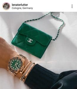 Chanel Green Card Holder on a Chain