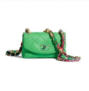 Chanel Scarf Entwined Chain Green Mini Flap Bag $3,500 USD