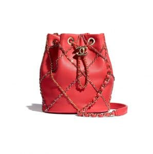 Chanel Red Drawstring Bag with Entwined Chain
