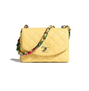 Chanel Scarf Entwined Chain Yellow Flap Bag
