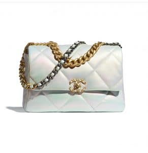 Chanel White Iridescent 19 Bag - Spring 2021