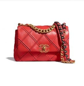 Chanel 19 Red Whipstitched Bag - Spring 2021