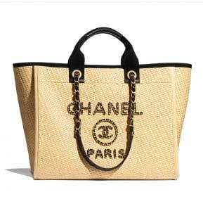 Chanel Beige Raffia Deauville Tote - Spring 2021