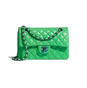 Chanel Rainbow Metal Green Flap Bag
