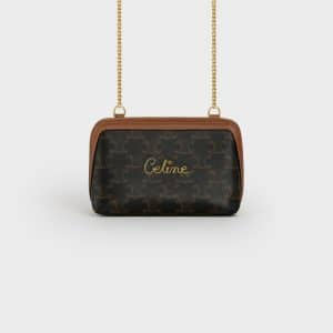 Celine Black/Tan Triomphe Canvas Clutch with Chain Bag