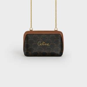 Celine Black/Tan Triomphe Canvas Clutch with Chain Bag