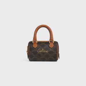 Celine Black/Tan Triomphe Canvas Mini Boston Bag