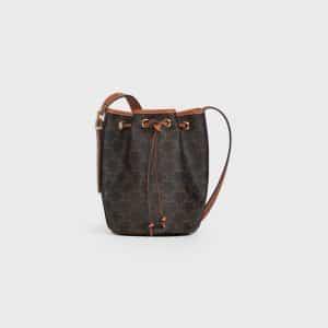 Celine Black/Tan Triomphe Canvas Small Drawtsring Bag