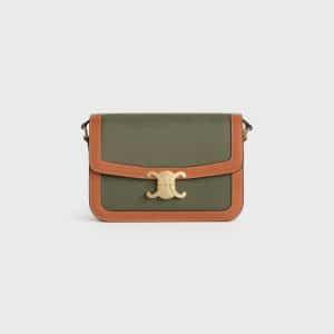 Celine Khaki/Tan Textile/Calfskin Medium Triomphe Bag