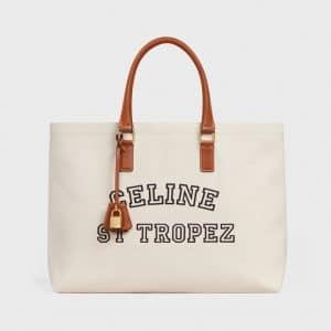 Celine Natural/Tan Textile St Tropez Print Horizontal Cabas Bag