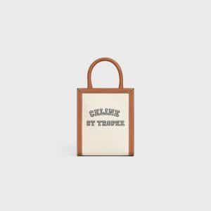 Celine Natural/Tan Textile St Tropez Print Mini Vertical Cabas Bag