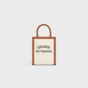 Celine Natural/Tan Textile St Tropez Print Mini Vertical Cabas Bag