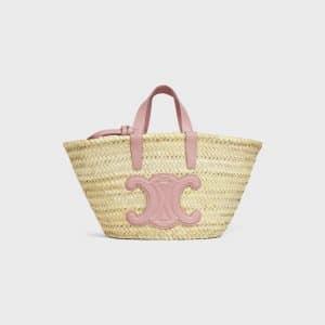 Celine Vintage Pink Raffia/Calfskin Teen Triomphe Classic Panier Bag