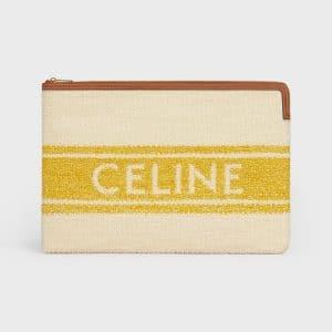 Celine Yellow/Tan Plein Soleil Textile Large Pouch Bag