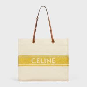Celine Yellow/Tan Plein Soleil Textile Squared Cabas Bag