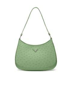 Prada Aquamarine Ostrich Cleo Shoulder Bag