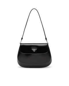 Prada Black Brushed Leather Cleo Flap Shoulder Bag