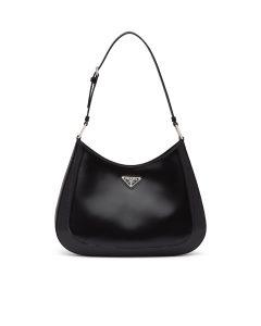 Prada Black Brushed Leather Cleo Large Shoulder Bag