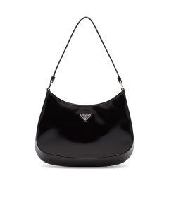 Prada Black Brushed Leather Cleo Shoulder Bag