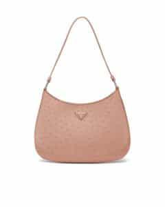 Prada Powder Pink Ostrich Cleo Shoulder Bag