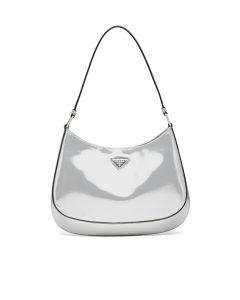 Prada Silver Brushed Leather Cleo Shoulder Bag