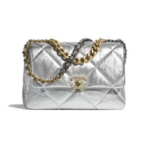 Chanel 19 Silver Large Flap Bag - Spring 2021