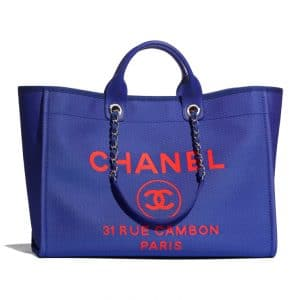 Chanel Blue with Neon Orange Deauville Tote - Spring 2021