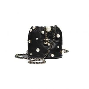 Chanel Chain Drawstring Bag with Pearl Detail - Spring 2021