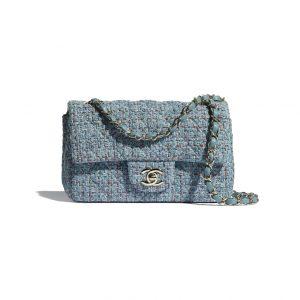 Chanel Light Blue Tweed Mini Flap Bag - Spring 2021