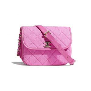Chanel Pink Denim Messenger Flap Bag - Spring 2021
