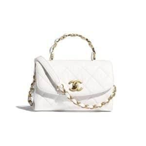 Chanel White Mini Flap Top Handle Bag - Spring 2021