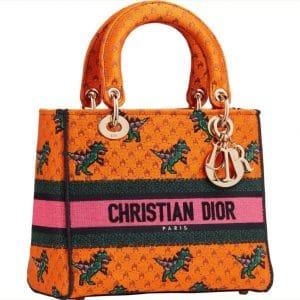 Dior D-Lite Orange Dinosaur Bag - Prefall 2021