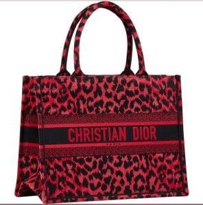 Dior Red Leopard Book Tote Bag - Prefall 2021