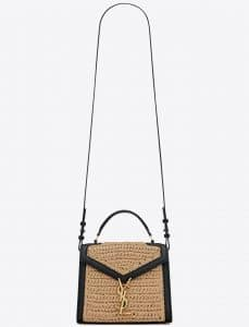 Cassandra Mini Top Handle Bag in Raffia and Leather Natural