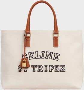 Celine Natural/Tan St Tropez Horizontal Cabas Bag