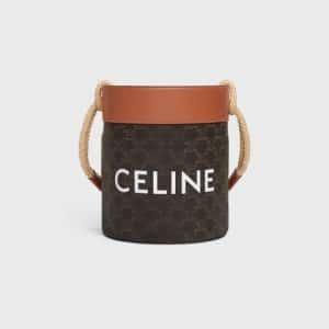 Celine Triomphe Canvas Bucket Bag Tan