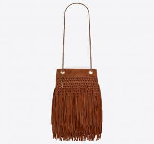 Grace Small Fringed Hobo Bag in Raffia and Suede Cinnamon
