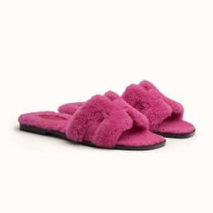 Hermes Oran Magenta Fur Sandal - Spring 2021