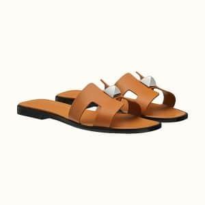 Hermes Oran Stud Tan Sandal - Fall 2021