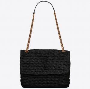 Niki Medium in Raffia and Leather Black