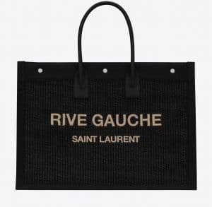 Rive Gauche Large Tote Bag in Embroidered Raffia and Leather Black